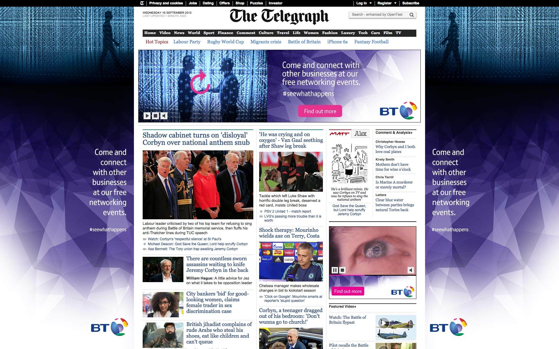 BT Business Homepage Takeover Ad